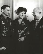 Valentina Tereshkova, 1st Woman in space and Valery Bykovsky Vostok 5 Russian Cosmonaut signed 10