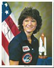 Sally Ride NASA Space Shuttle astronaut signed 10 x 8 colour photo, inscribed to John. Good