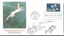 Bill Pogue Skylab Astronaut and two US test pilots Jack Allack and Kerry Acton signed 1997 50th