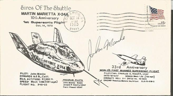 John Manke US X24b Test Pilot signed 1980 X24a 10th ann Supersonic flight US FDC with Edwards AF