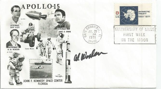 Col Al Worden Apollo 15 Command Module pilot signed 1971 Ap 15 FDC. Cape Canaveral postmark and