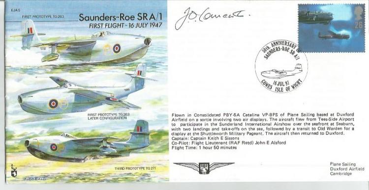 Jo Lancaster DFC test pilot signed Saunders Roe SRA1 Experimental Jet Aircraft cover. Royal Air