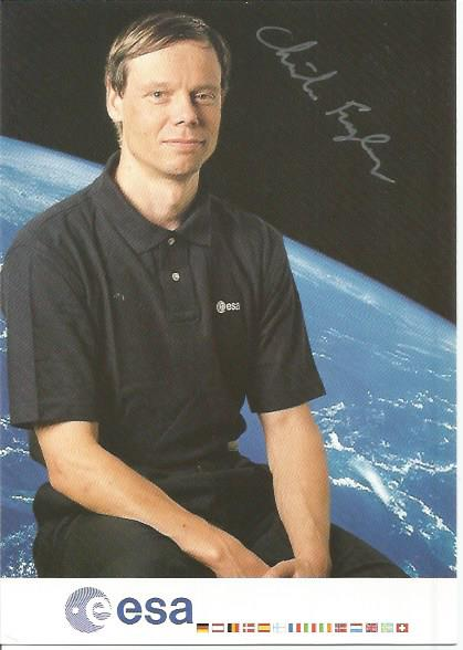 Christer Fuglesang ESA Astronaut signed 6 x 4 colour portrait promo card. Good Condition. All signed