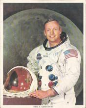 Neil Armstrong signed 10 x 8 colour White Space Suit photo dedicated to Trevor Dell. Has some faults