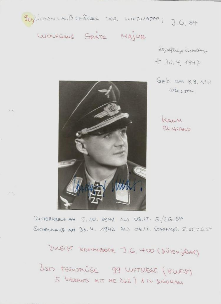 Luftwaffe signed photo collection. 14 signed photos mainly 6 x 4 portraits set in collection with