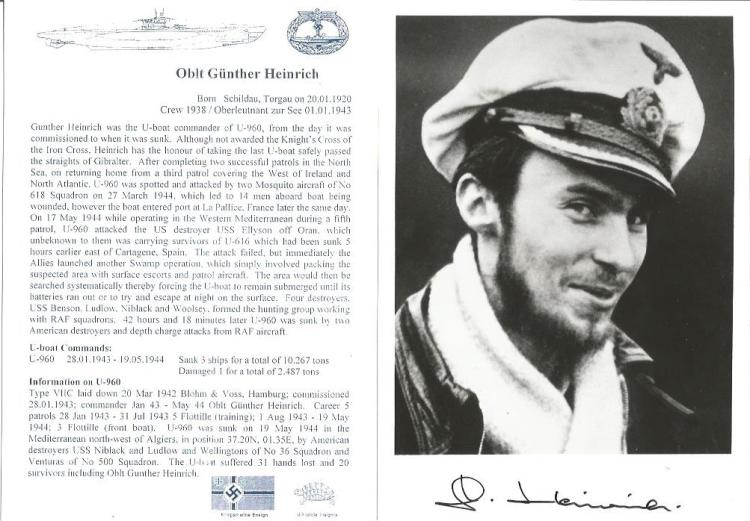 Gunter Heinrich WW2 U Boat commander signed 6 x 4 b/w portrait photo. Only 150 signed, numbered