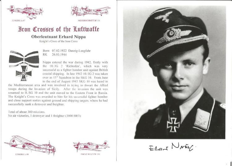 Erhard Nippa KC WW2 Luftwaffe fighter ace signed 6 x 4 b/w portrait photo. Only 210 signed, numbered