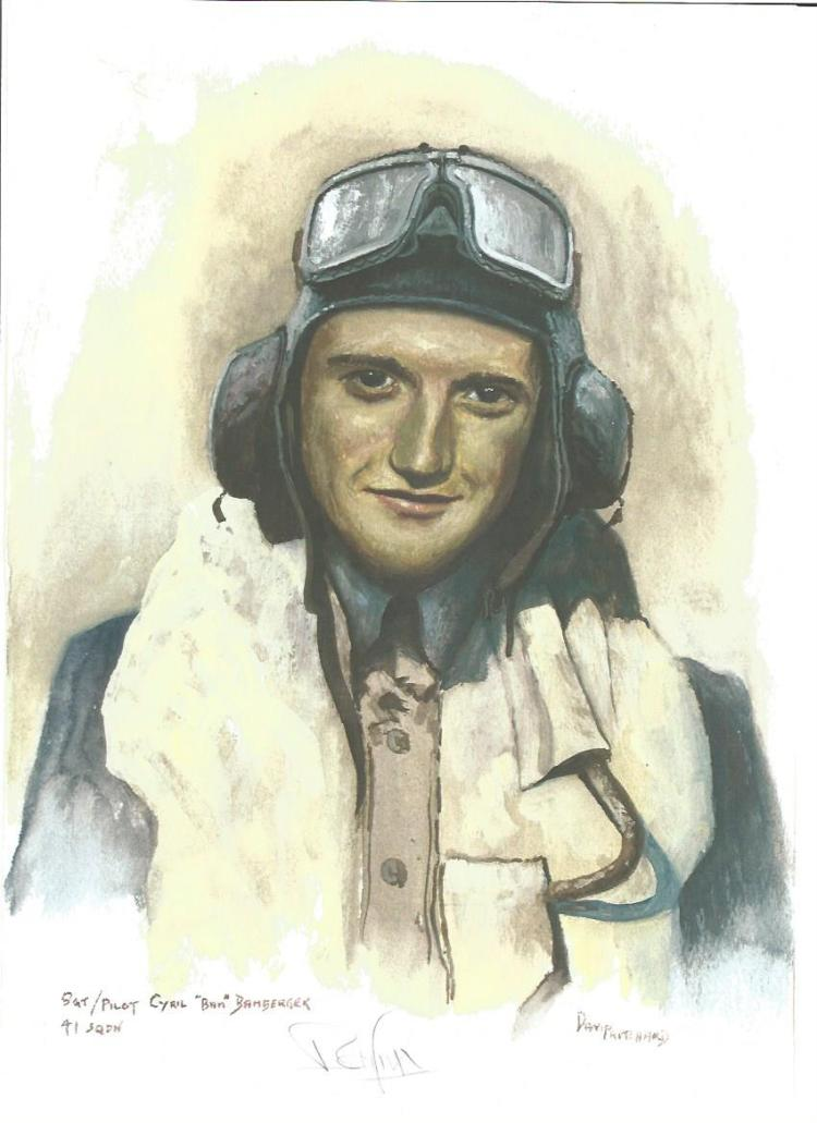 Plt Off Cyril Bamberger WW2 RAF Battle of Britain Pilot signed colour print 12 x 8 inch signed in