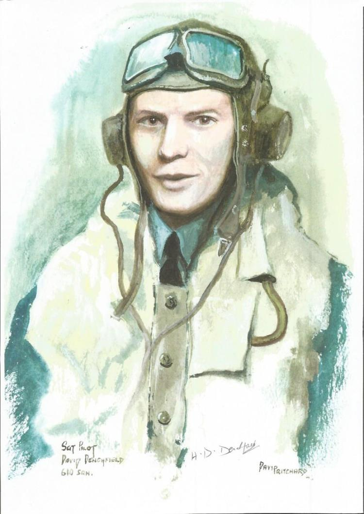 Sgt Pilot David Denchfield WW2 RAF Battle of Britain Pilot signed colour print 12 x 8 inch signed in
