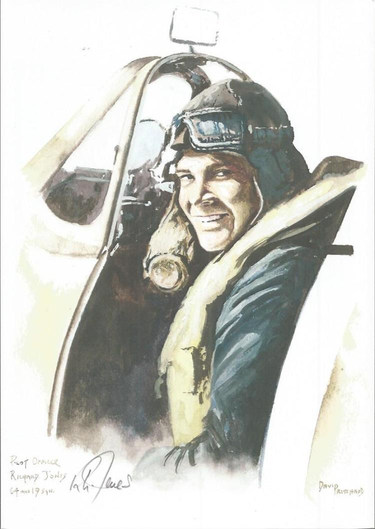 Flt/Lt Richard Jones WW2 RAF Battle of Britain Pilot signed colour print 12 x 8 inch signed in