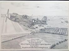 Hand pencil drawn original 16 x 12 drawing titled June 4th, 1944, The Mighty Midget Lt James H Clark
