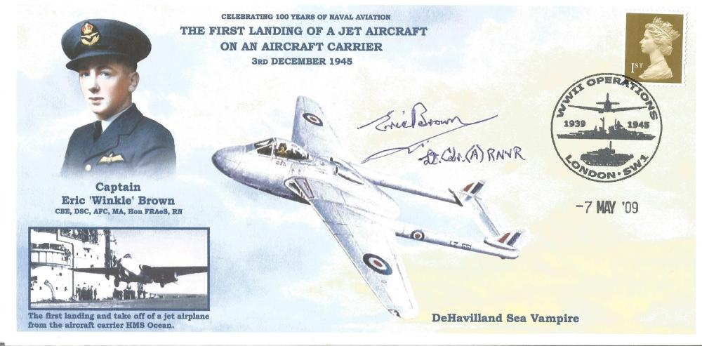 1st Landing of Jet Aircraft on Aircraft Carrier Signed Eric Brown Test Pilot Landed the Jet aircraft