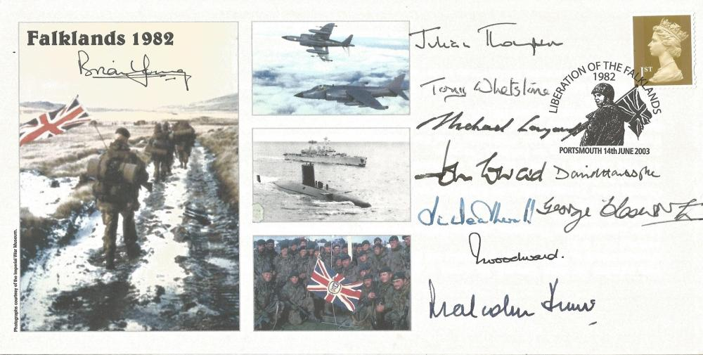 14th June 2003 Portsmouth Liberation of the Falklands 1982. Falklands 1982. Signed by 10 from