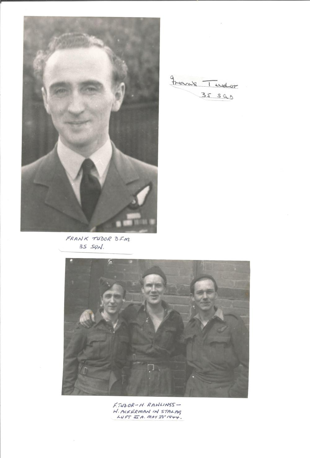 Collection of 5 RAF Pilot Signatures on signature card, Pilots including Joe Petrie Andrews, Harry