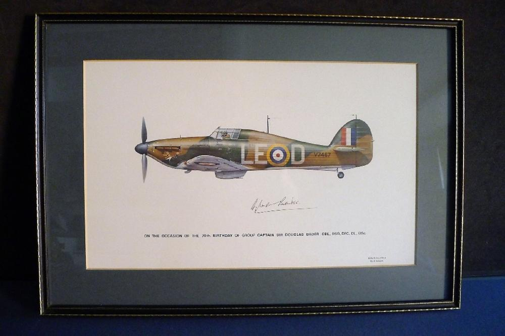 B8 RARE An early Battle of Britain Museum Appeal Hurricane print signed by Group Captain Sir Douglas