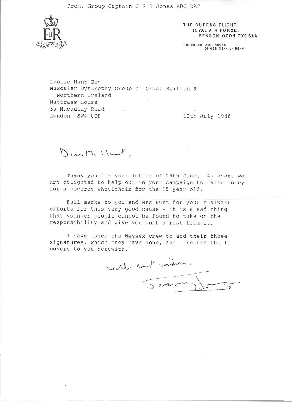 Grp Cptn Jeremy Jones TLS dated 10/7/1986. Good condition Est.