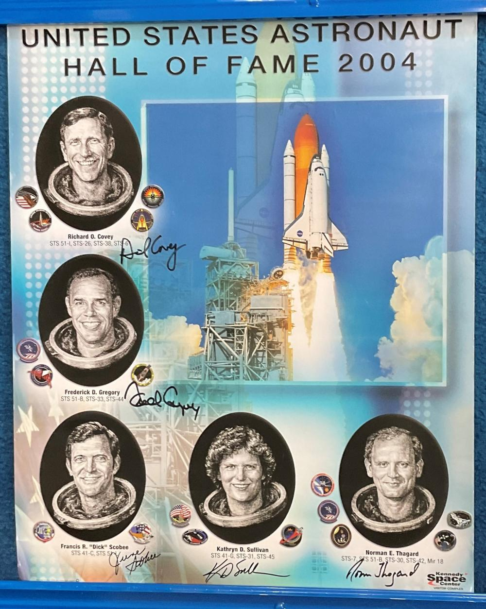 MULTI SIGNED United States Astronaut Hall of Fame 2004 poster. Designed for the Kennedy Space