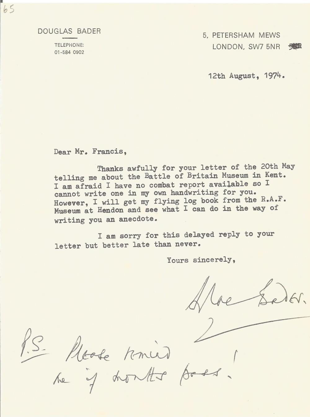 WW2 Group Captain Sir Douglas Bader, CBE, DSO & Bar, DFC & Bar, DL, FRAeS Battle of Britain Pilot