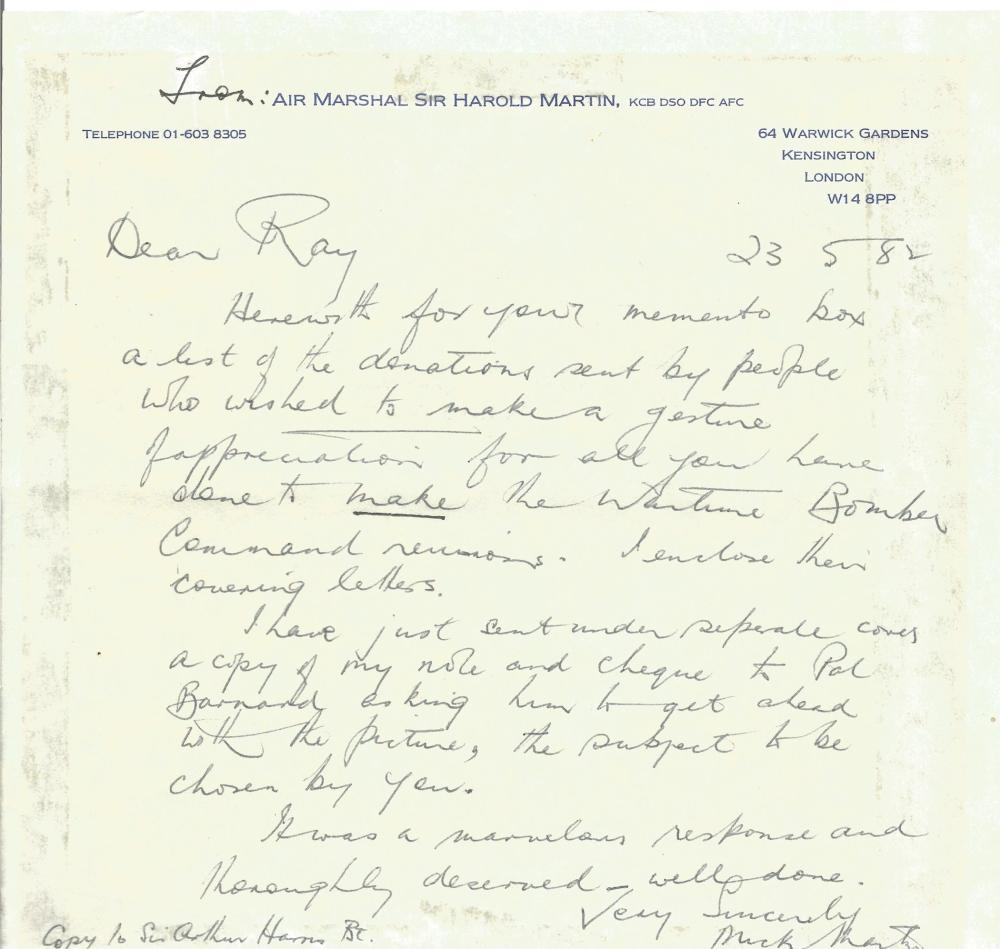 WW2 Air Marshal Sir Harold Martin KCB DSO DFC AFC Handwritten Letter Dated 23/5/82. Hand signed by