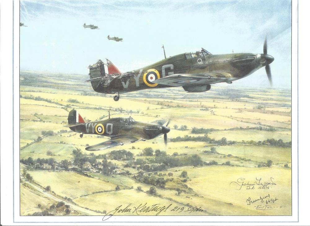 WW2 Battle Of Britain 10x8 colour print. Signed by Battle of Britain RAF Fighter Pilots: Peter