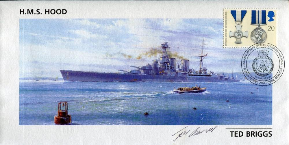 HMS Hood cover signed by Ted Briggs who at the time of signing was the last living survivor of the