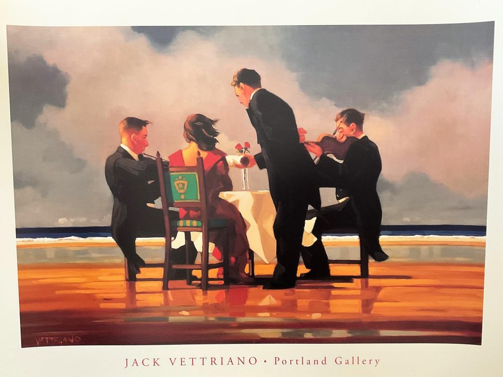 Jack Vettriano 31.5x23.5 Colour Print Titled 'Elegy for the Dead Admiral'. Print Shows a Lady