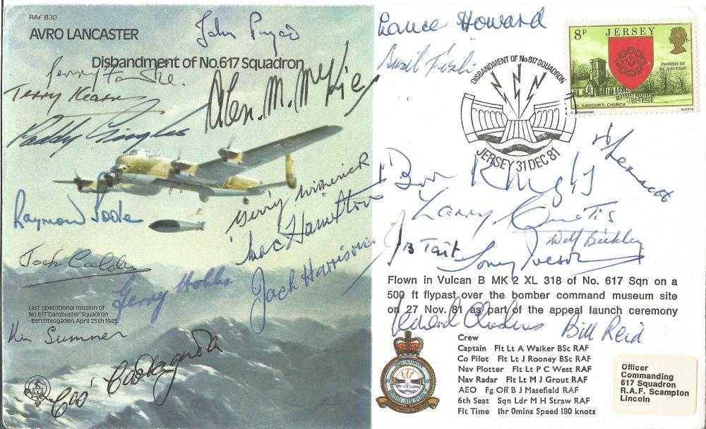 Rare Multisigned 617 Sqn WW2 Tirpitz And Dambusters Avro Lancaster B30 Cover Twenty Three