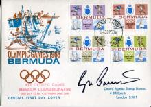 ROGER BANNISTER: 1968 Bermuda Olympic Games FDC signed by legendary 4 minute mile athlete Sir Roger Bannister.
