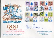 CHRIS CHATAWAY: 1968 Bermuda Olympic Games FDC signed by legendary 4 minute mile pacemaking athlete the late Sir Chris Chataway.