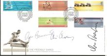 Roger Banister, Chris Chataway and Chris Brasher signed 2002 Commonwealth Games FDC.