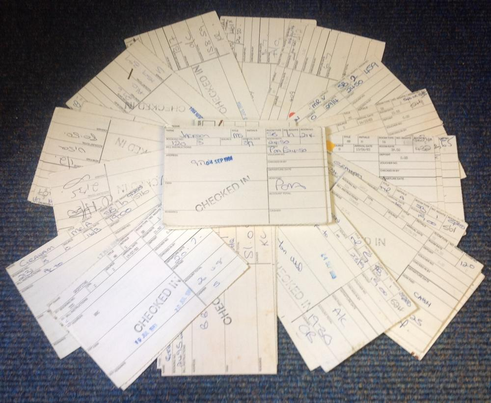 Granada tv signed guest registration cards. 60+ cards. Some of signatures are Carl Sutcliffe, Adam