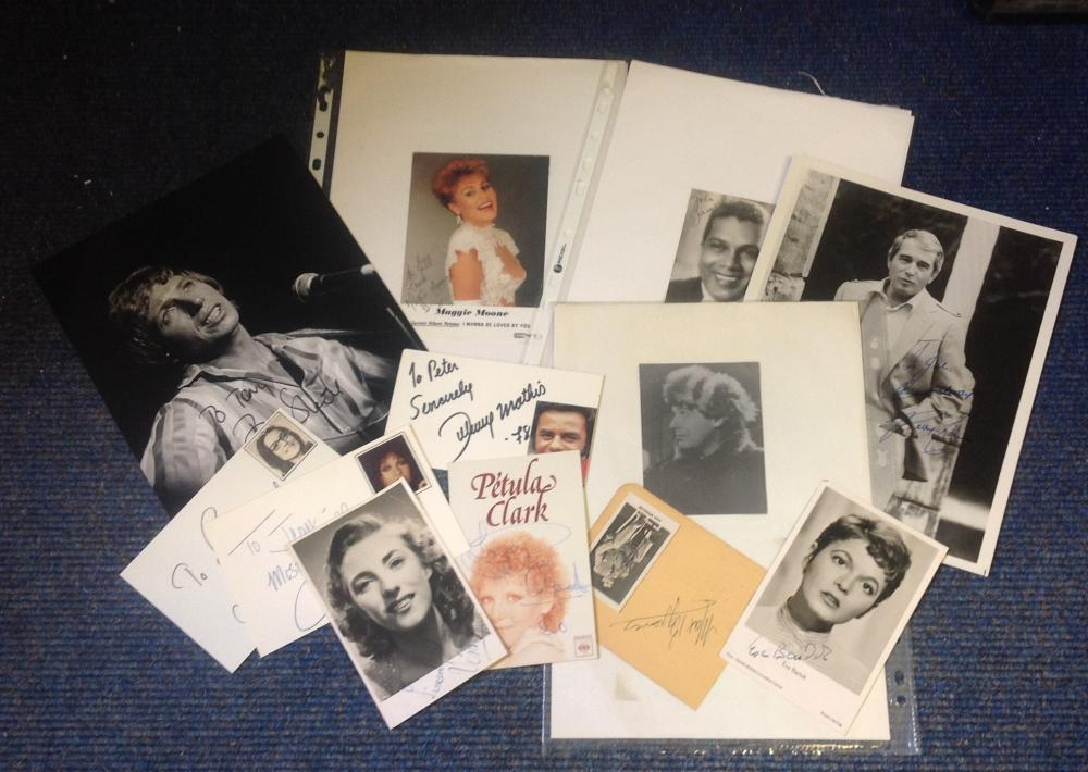 Music signed collection. 11 items. Assorted sized photos and signature pieces. Some of signatures