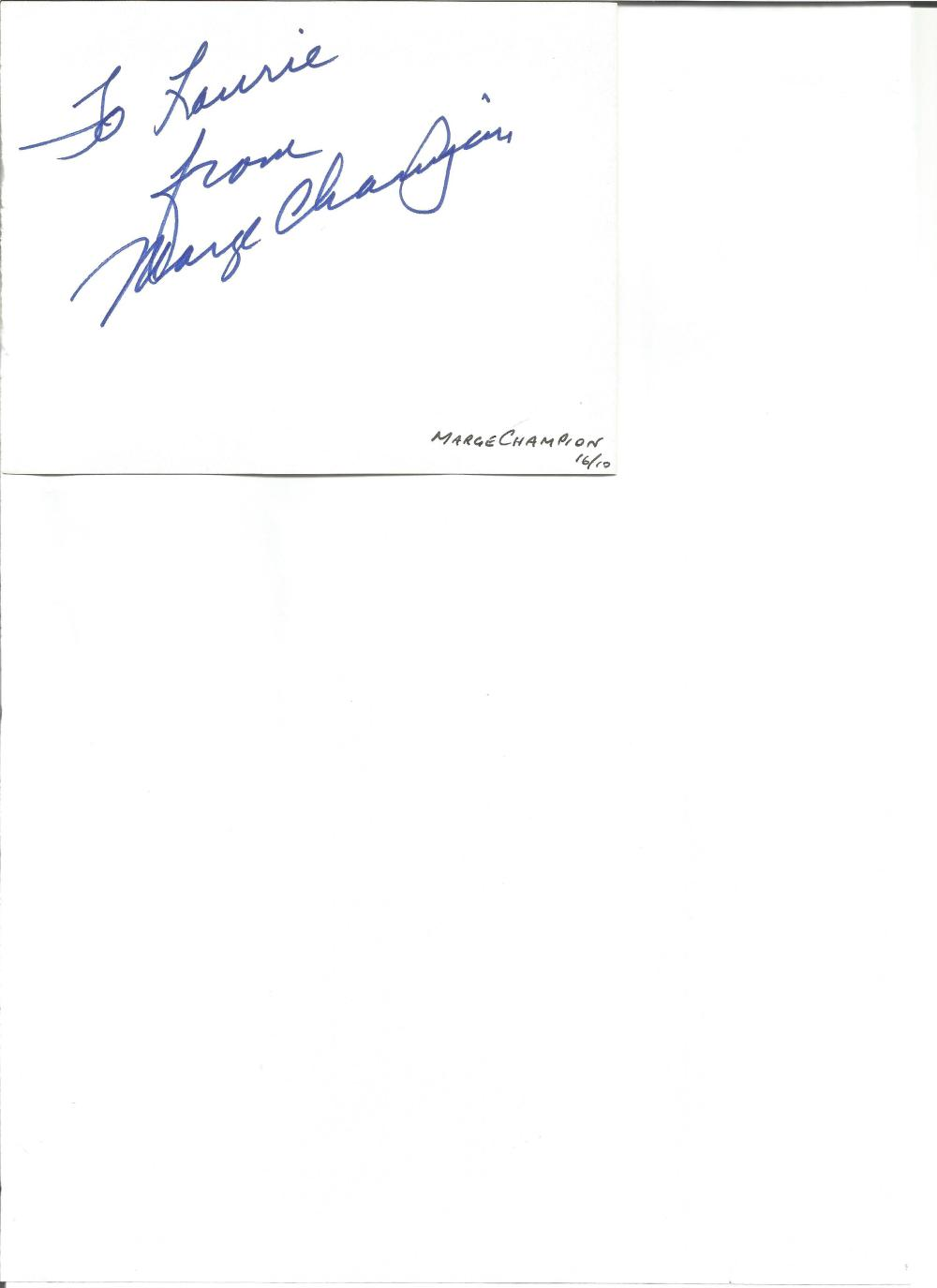 Marge Champion signed album page. American dancer, choreographer, and stage and screen actress.
