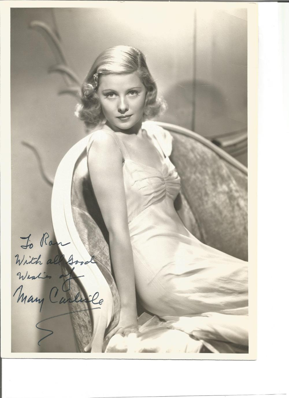 Mary Carlisle signed 10x8 vintage photo. February 3, 1914 – August 1, 2018 was an American
