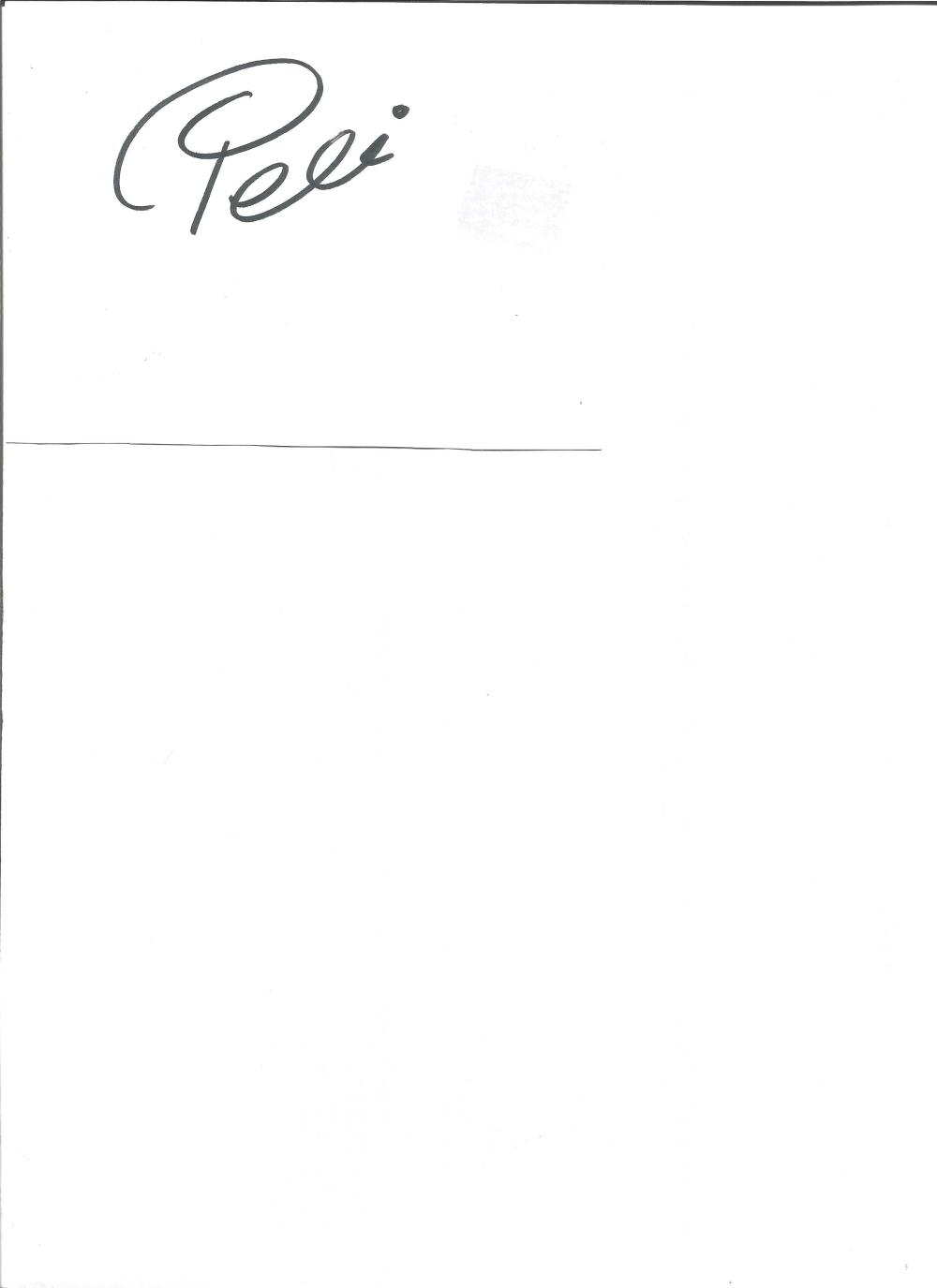 Pele signed white card. Brazilian footballer. Good Condition. All signed pieces come with a