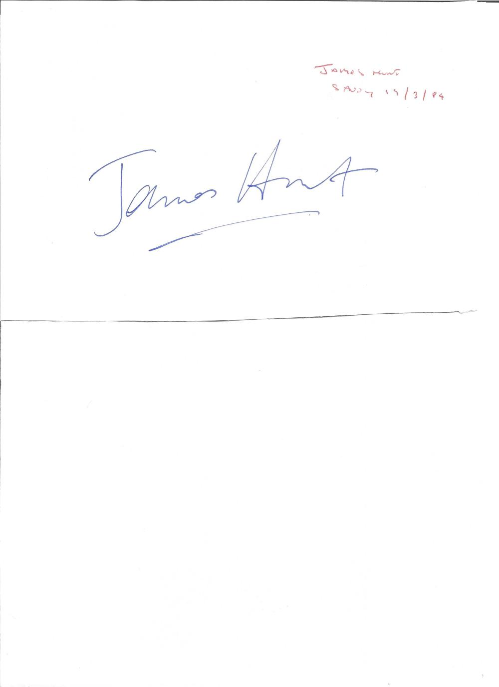 James Hunt large signature piece. English F1 driver. Good Condition. All signed pieces come with a