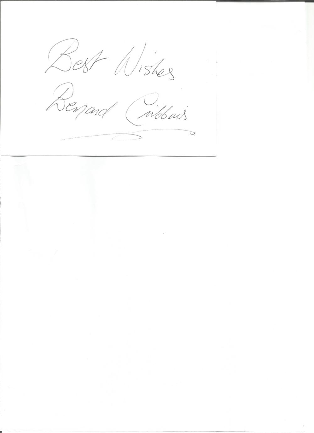 Bernard Cribbins signed white card. English actor. Good Condition. All signed pieces come with a