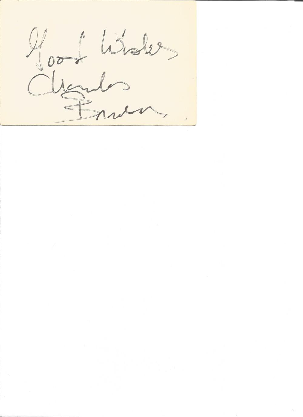 Charles Bronson signed card. American actor. Star of the Magnificent Seven, The Great Escape,