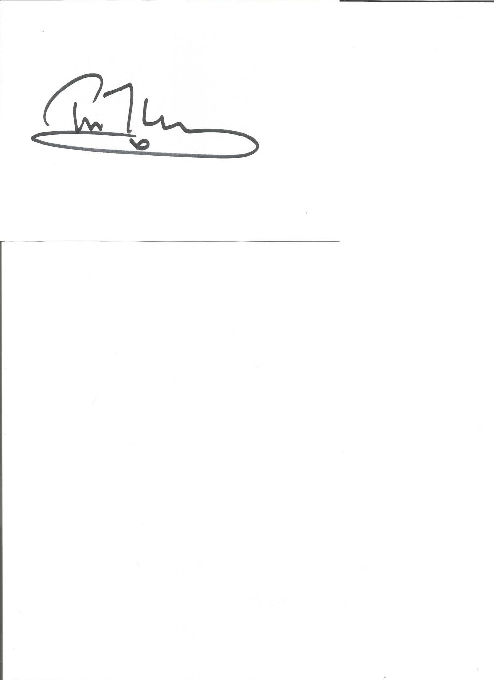 Tim Mcinnerny signed white card. English actor and comedian. . Good Condition. All signed pieces