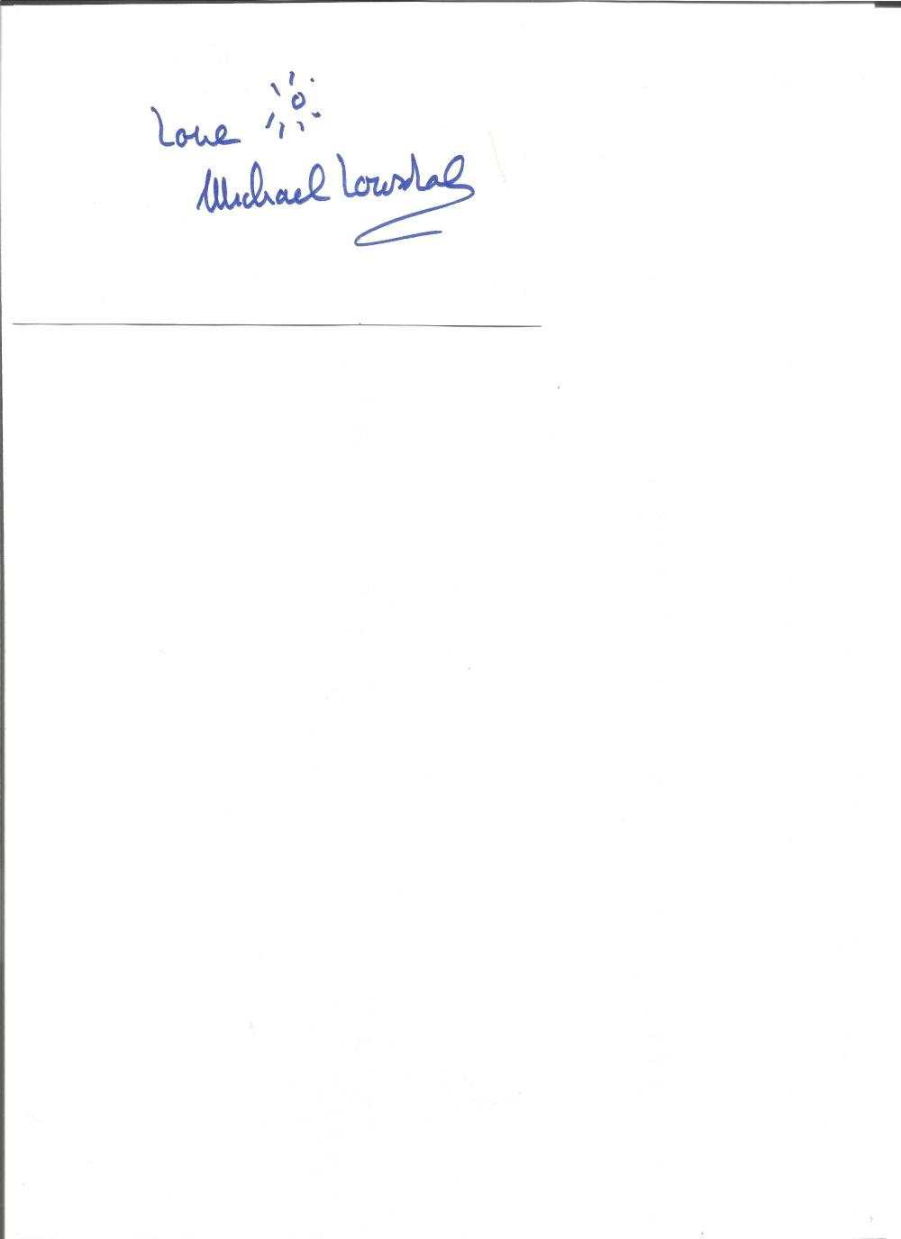 Michael Lonsdale signed white card. French actor. Appeared in Day of the Jackal, Moonraker and more.