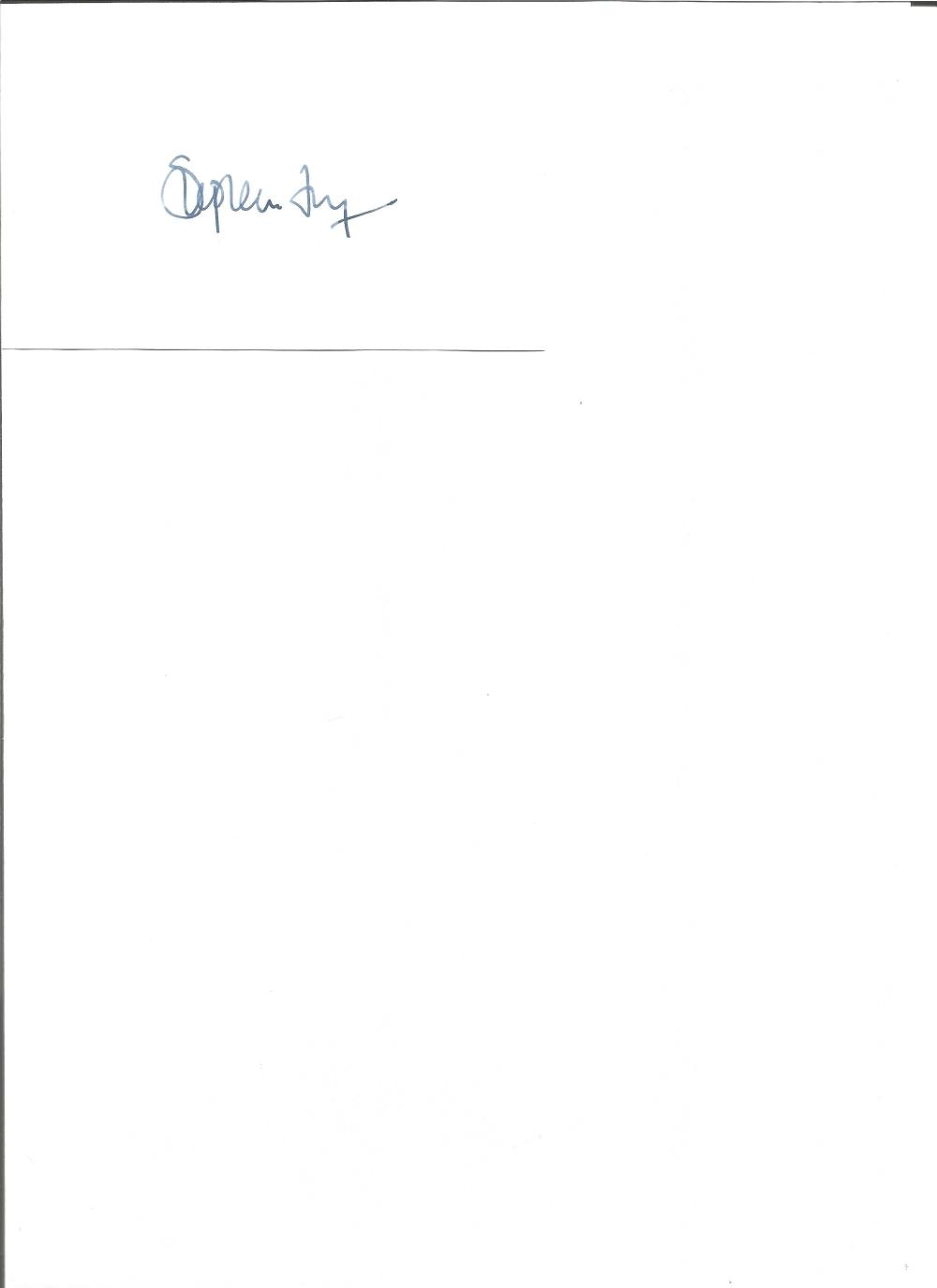 Stephen Fry signed white card. English comedian, actor and author. Good Condition. All signed pieces