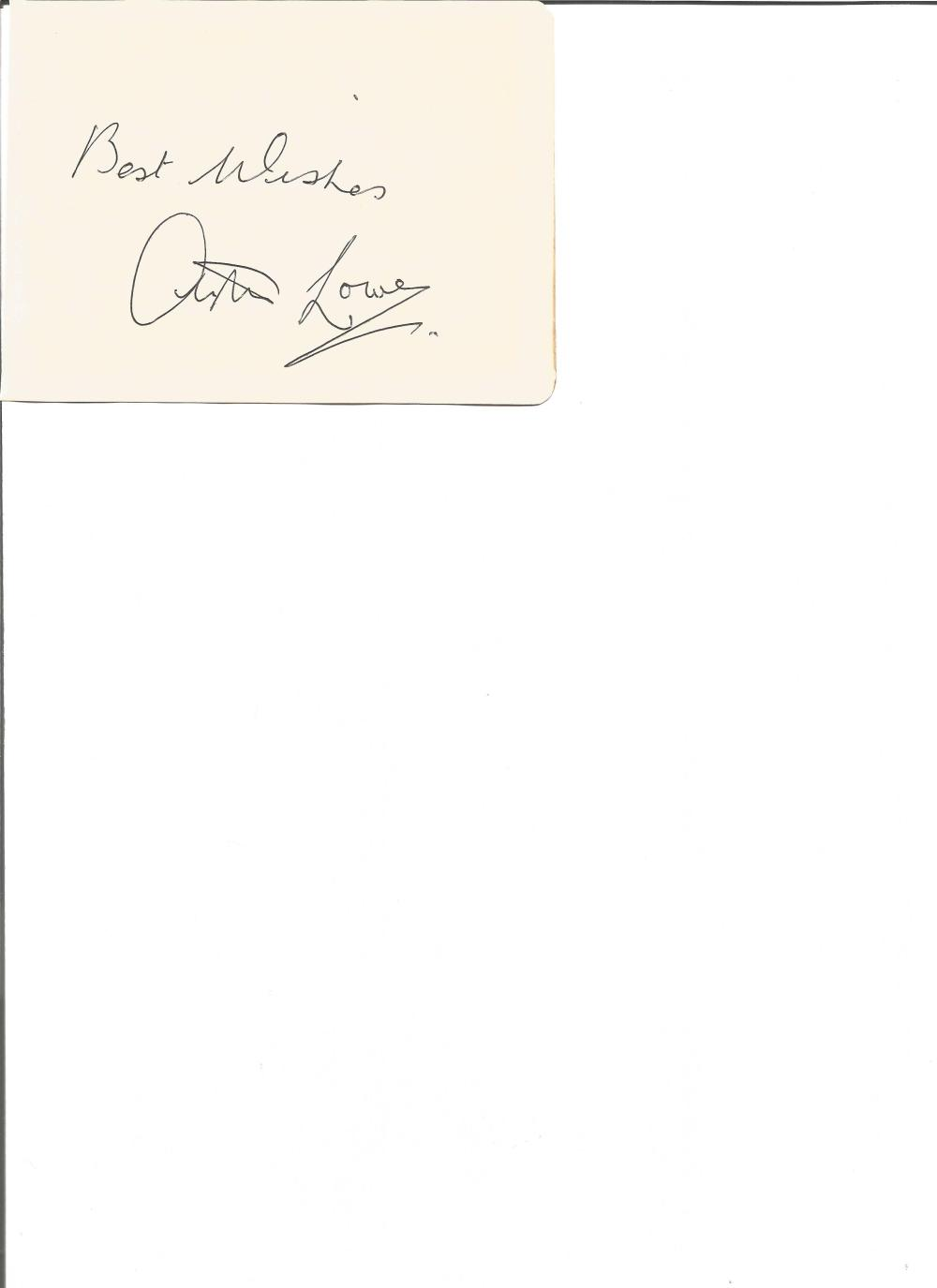 Arthur Lowe signed album page. English actor. Best known for his role as Captain Mainwaring in Dad's