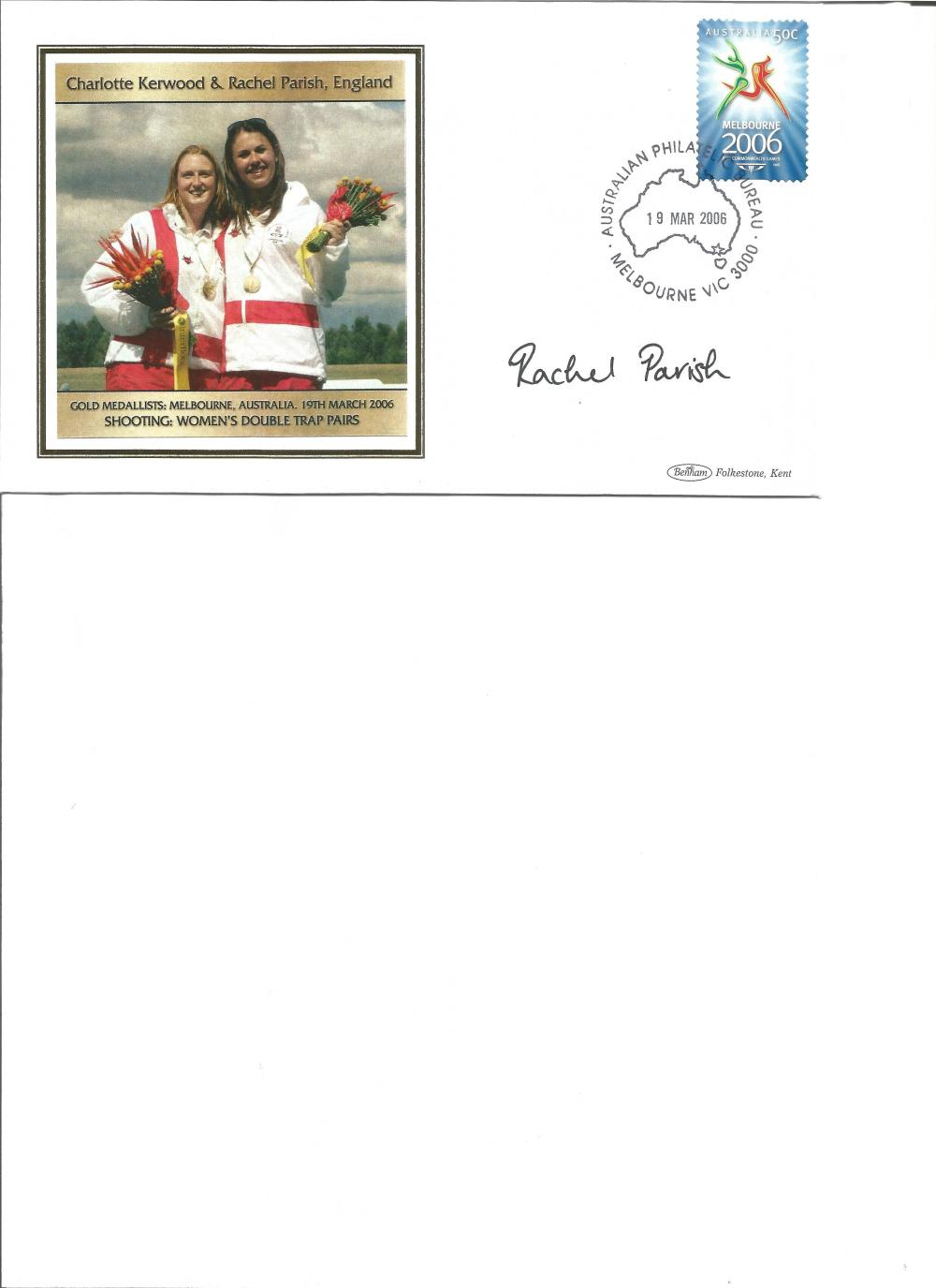 Rachel Parish signed Australian Commonwealth Games FDC. Shooting gold medallist. Good Condition. All