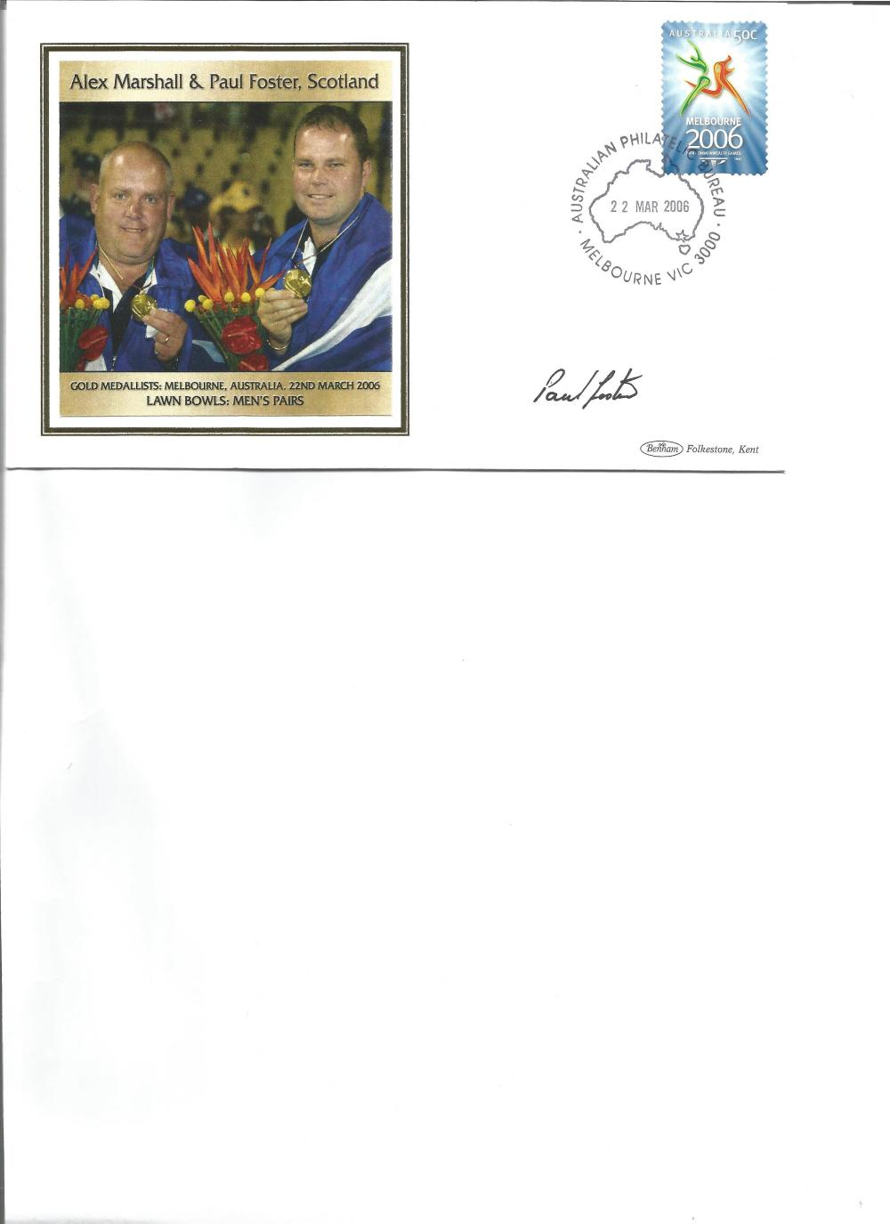 Paul Foster signed 2006 Australian Commonwealth Games FDC. Lawn bowls gold medallist. Good
