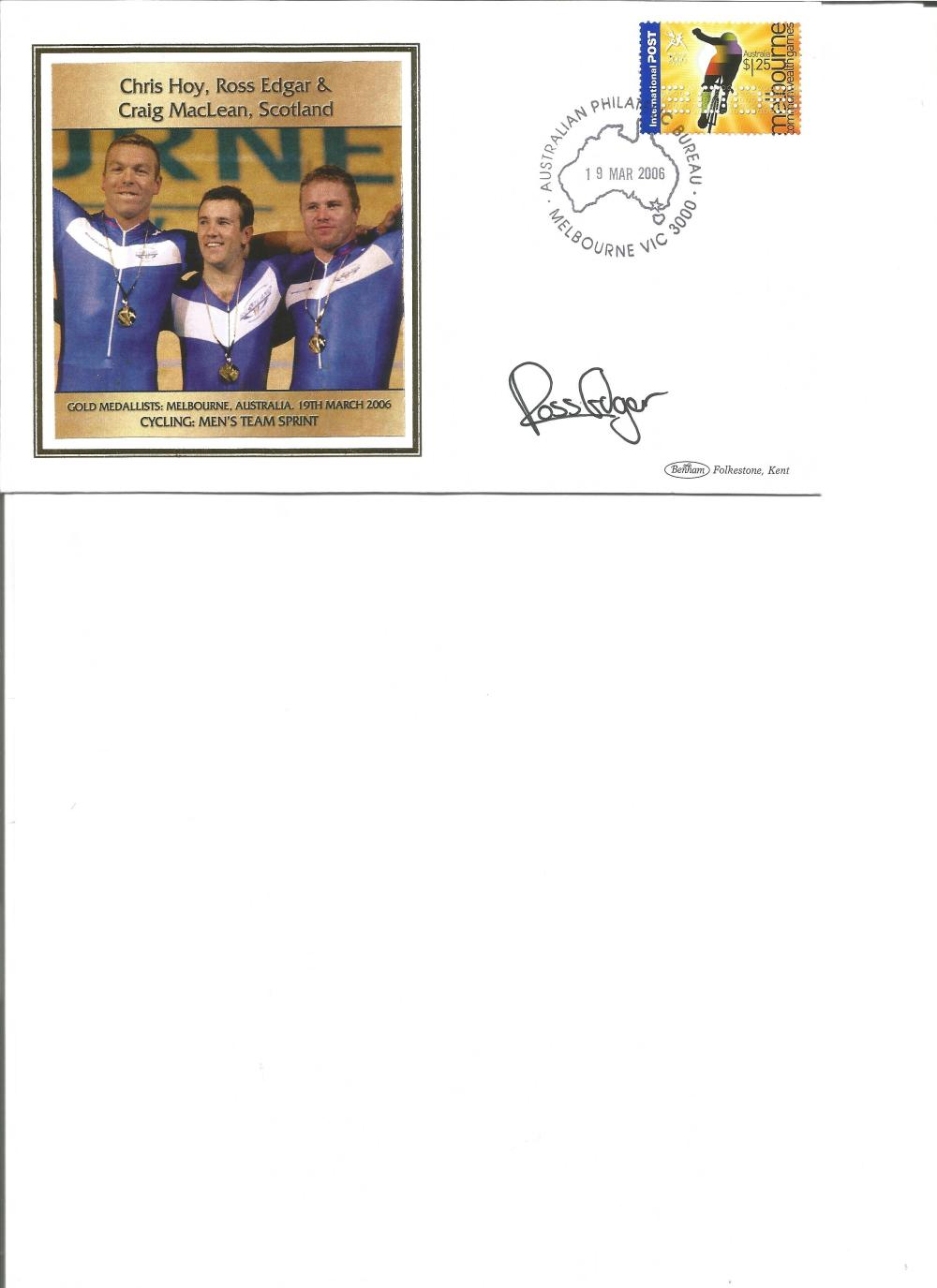 Ross Edgar signed 2006 Australian Commonwealth Games FDC. Cycling gold medallist. Good Condition.