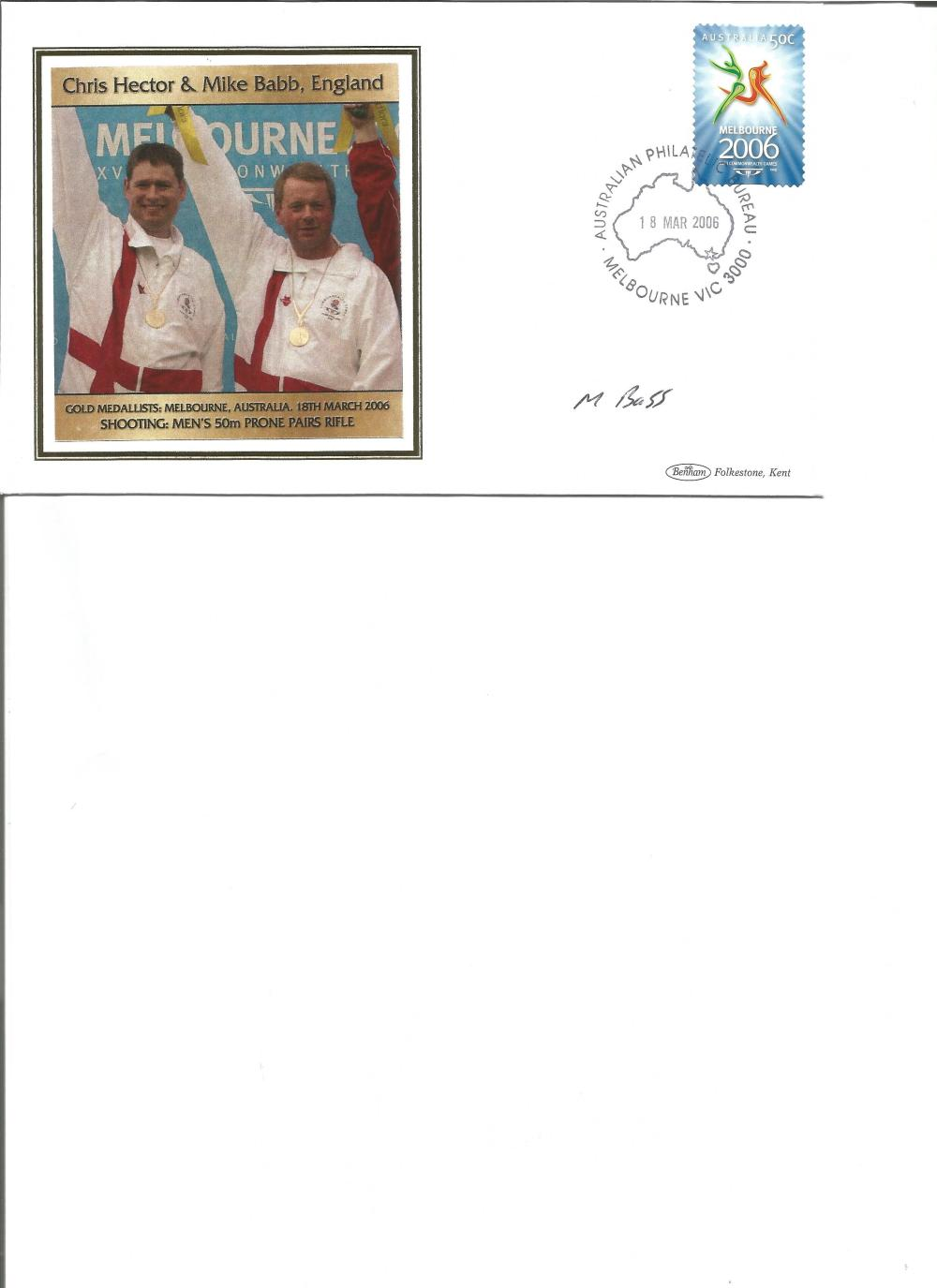 Mike Babb signed 2006 Australian Commonwealth Games FDC. Shooting gold medallist. Good Condition.