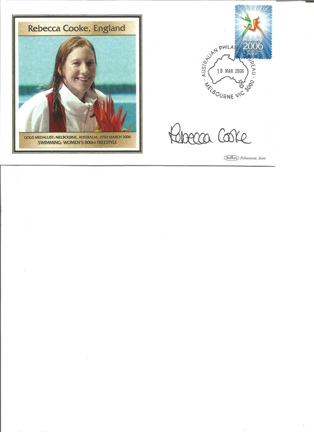 Rebecca Cooke signed 2006 Australian Commonwealth Games FDC. Swimming gold medallist. Good