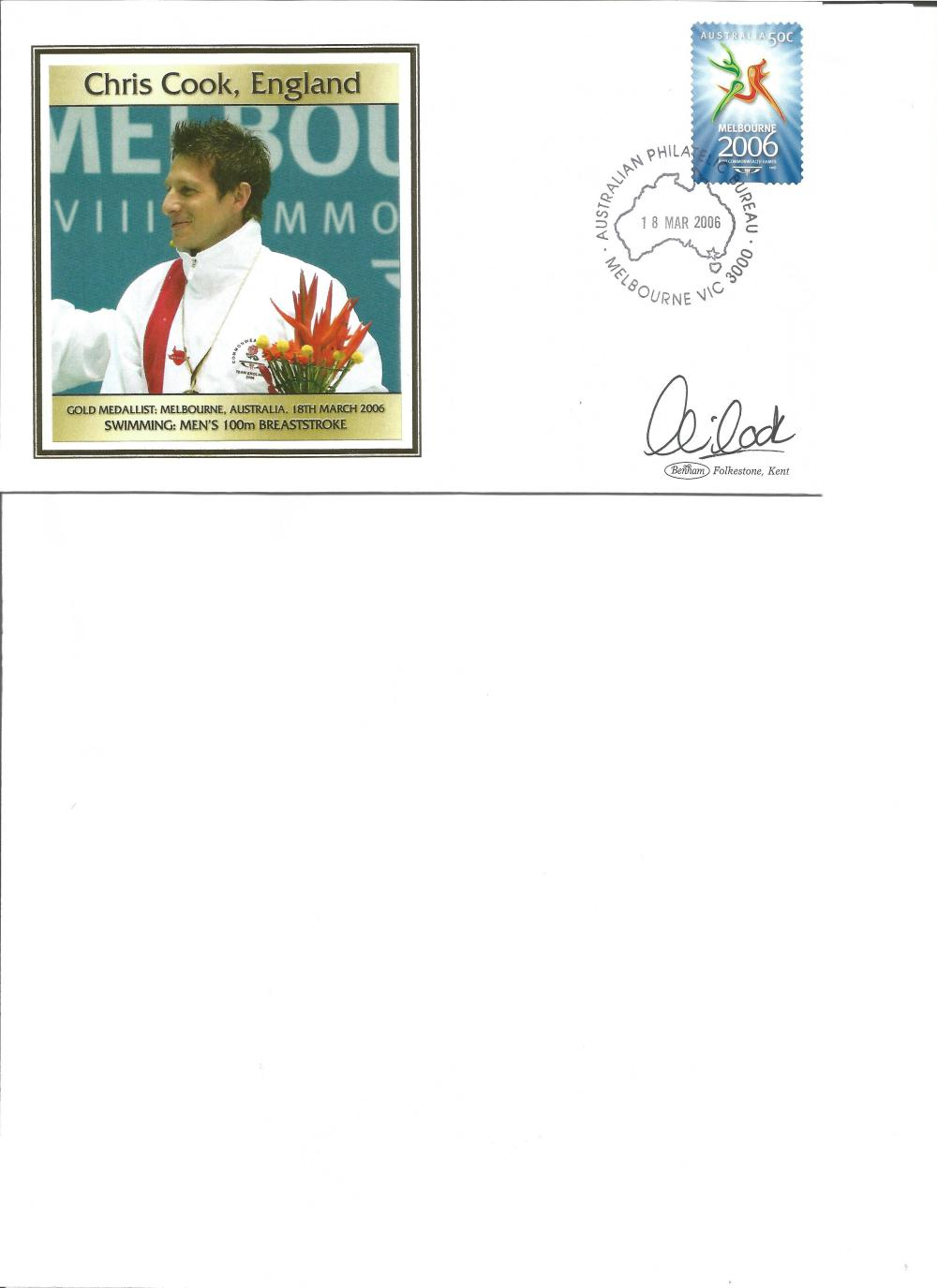 Chris Cook signed 2006 Australian Commonwealth Games FDC. Gold medallist swimmer. Good Condition.