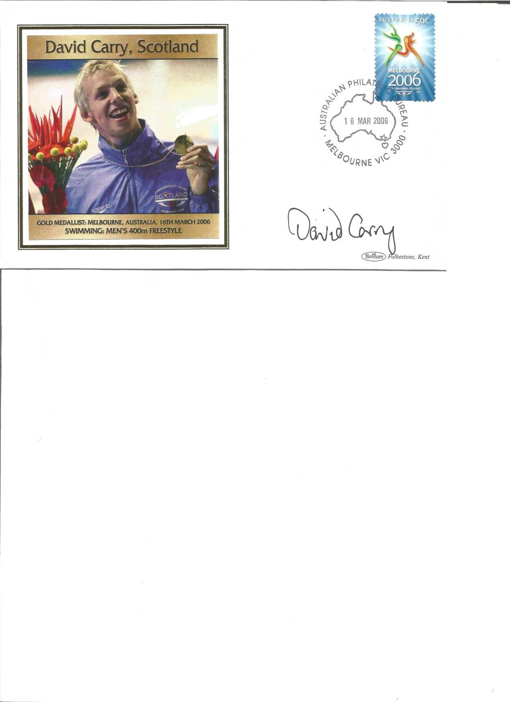 David Carry signed 2006 Australian Commonwealth Games FDC. Swimming gold medallist. Good