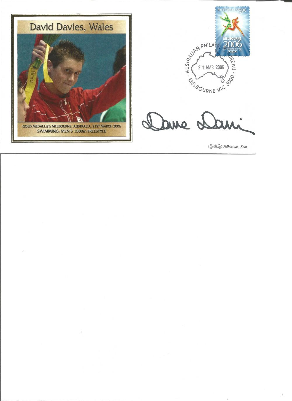 David Davies signed 2006 Australian Commonwealth Games FDC. Swimming invoice. Good Condition. All
